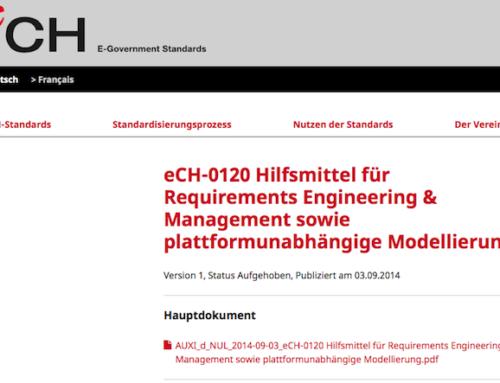 eCH-0120: Hilfsmittel f. Requirements Engineering
